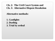 Blaw 2013: The Civil Court System and Alternative Dispute Resolution
