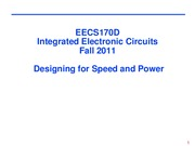 Lecture 9 - Speed and Power