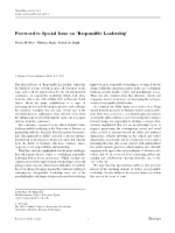 Foreword to Special Issue on 'Responsible Leadership part 1