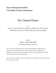 the chunnel project case study pmp