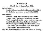 C142A Ch 1 2011 lecture 2
