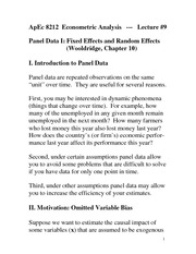 Panel Data Effects Notes