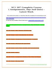 SC1 207 Complete Course ( Assignments, Dqs And Quiz) - Latest Work
