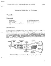 Lab; Magnetic Deflection of Electrons