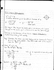 MATH 1231 Lecture Notes on Implicit Differentiation