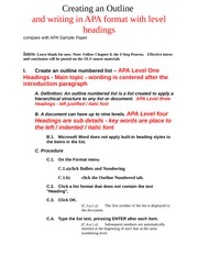 Apa format for a paper outline