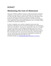 ECN437Minimizing the cost of Abatement