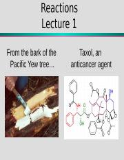 Organic Chemistry – Reactions Lecture I (1)
