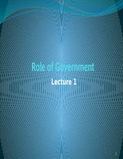Lecture 1 - Role of Govt