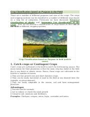 Crop Classification based on Purpose in the Field