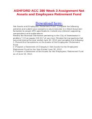 ASHFORD ACC 380 Week 3 Assignment Net Assets and Employees Retirement Fund.docx