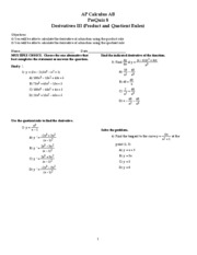 Quiz 8 (Prequiz) - Functions III (Product and Quotient Rules)