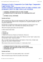 Levitt's Comparative Law Index_ Comparative Legal Systems Class_ Quiz 1A