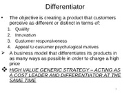 Ch 5 Differentiator and Cost Leader