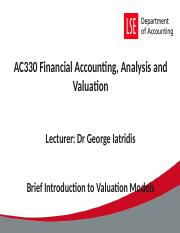 Class 1 Brief Introduction to Valuation Models RI, EVA, AE.ppt