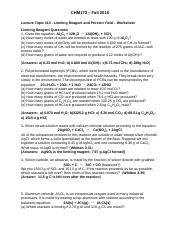 Lecture Topic #13 - Limiting Reagent and Percent Yield – Worksheet ...