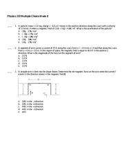 Physics 210 Practice Question 8 and Solutions