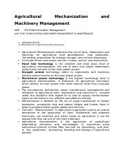 EBE 2507 Mechanization Management  revised 10th Juky 2016