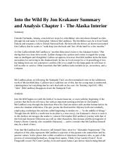 Into the Wild By Jon Krakauer Summary and Analysis Chapter 1