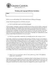 Topic 5 ThinkingandLanguageReflectionWorksheet