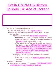 Crash Course Episode 14 - Age of Jackson.docx