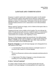 LANGUAGE AND COMMUNICATION Notes