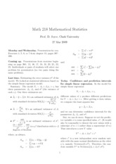 Math 218 Confidence and Prediction Intervals