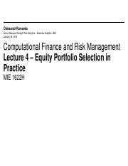 MIE1622H Lecture 4 - Equity Portfolio Selection in Practice
