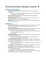 Environmental studies lesson 9