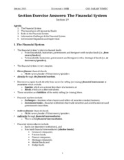 ECON 100B Section Notes - Financial System