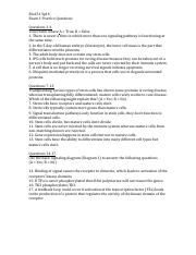 Bio151 Sp16 Practice Questions for Exam 1