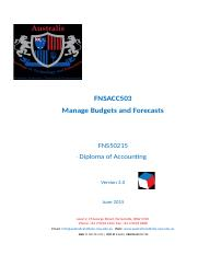 Assessment tools Mnage Budgets and Forecasts Done 2.2