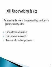 Underwriting V p