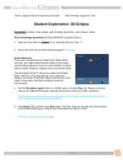 2d Eclipse Gizmo Kg Doc Name Keyanna Gibbs Student Exploration