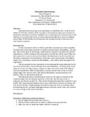 Spectroscopy lab report