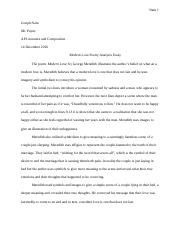 Modern Love Poetry Analysis Essay