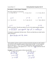 3.2 Solving Quadratic Equations Part II
