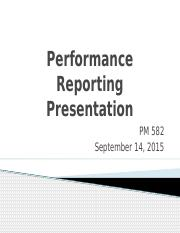 PM 582 Week Week 6 Individual Assignment Performance Reporting (Final)uploads