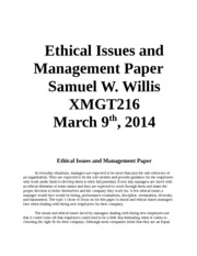 week 4 xmgt216 Ethical Issues and Management Paper