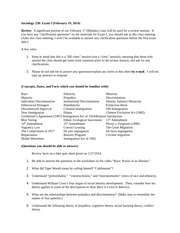 Sociology Study Sheet Test 1