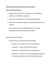 Thermogenesis Heat production and Heat Loss Notes