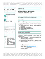 Job Resume Docx Hatim Khan Work Experience Duties Autospa