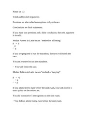 Discrete Math lecture notes valid and invalid arguments