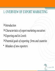 1. OVERVIEW OF EXPORT MARKETING