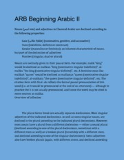 ARB 112 Beggining Arabic II ( Nouns and Adjectives))