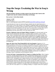Stop the Surge - Escalating the War in Iraq is Wrong