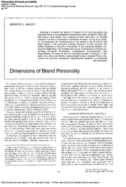 Aaker (1997) Dimensions of Brand Personality