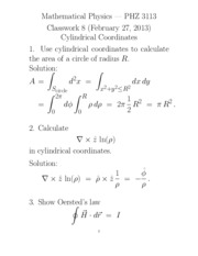 Homework Solution on Cylindrical Coordinates