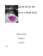 Lab 9. Determining the Ka by the Half-Titration of a Weak Acid. 4.10.13