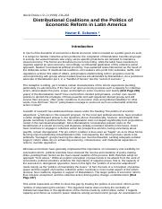 Distributional Coalitions and the Politics of Economic Reform in Latin America